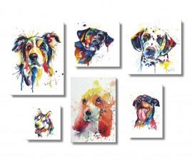 Placas Decorativas Mdf Cães Amigos E Fiéis Kit 6 Quadros
