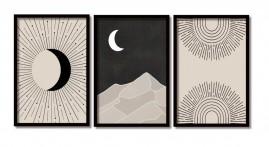 Quadros Grandes Abstratos Lua  Modernos Salas  Moldura 60x40