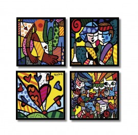 Romero Brito Placas Decorativas Kit 4 Quadros Mdf In Quadre