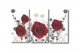 Quadro Decorativo Rosas Vermelhas 3 Quadros 96x56