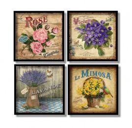 Quadros Decorativos Flores Vintage Kit 4 Quadros 60x60