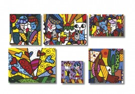 Romero Brito Kit 6 Quadros Placas Decorativas Mdf Salas 1x50