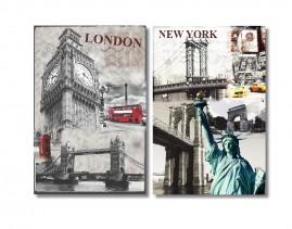 New York London Quadros Decorativos Canvas 60x80 Promoção