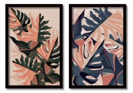 Quadros Decorativos Folhagens Costela De Adão Moldura 60x40