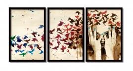 Quadros Grandes Mulher Cabelo De pássaros Moldura 60x40