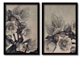 Quadros Decorativos Flores Aquarela Salas Moldura 60x40