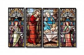 Quadro Vitraux Medieval Religioso Fine Art 4 Quadros1,10x60