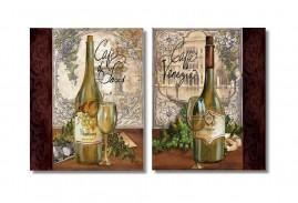 Quadros Decorativos Vinho Vintage Kit2 80x50 Promoção