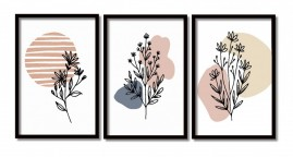 Quadros Grandes Suave Natureza Flores Salas Moldura 60x40