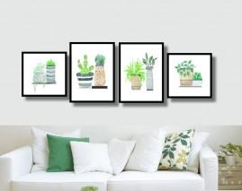 Quadros Vasos De Plantas Kit 4 Quadros Decoração Moderna