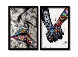 Quadros Decorativos Mãos Dadas Cumplicidade Moldura 60x40