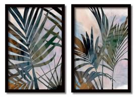 Quadros Decorativos Abstrato Folhas Ramos Sala Moldura 60x40