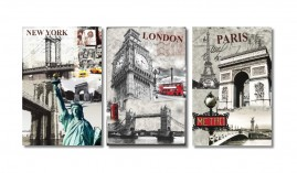 Quadros Cidades New York Paris London 1,20x60 + Super Brinde