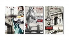 Quadros Cidades New York Paris London 1,20x60 + Super Brinde