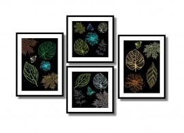 Quadros Decorativos Folhas Secas Salas Quartos Kit4 1,20x40