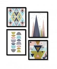 Quadros Decorativos Geométricos Coloridos Com Moldura preta