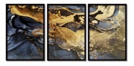 Quadros Decorativos Abstrato Mármore Preto Moldura 60x40