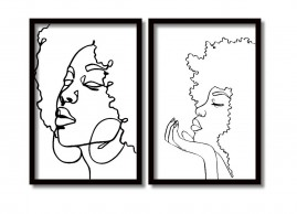 Kit 2 Quadros Decorativos Black Woman Moldura 60x40