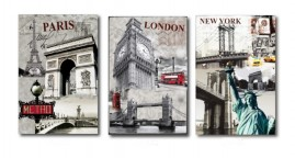 Quadros Decorativos Paris-London-New Yorke- 1,30x60