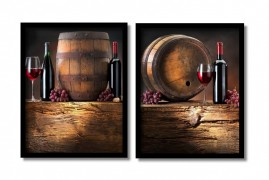 Quadros Decorativo Vinho Wine Sala Gourmet Kit 2 80x50