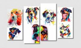Quadros Decorativos Cães Amigos E Fiéis Sala Quarto 1x65