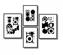 Quadros Geométricos Preto E Branco Kit4 Quadros