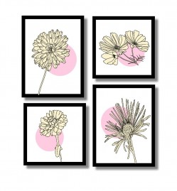 Quadros Decorativos Delicadeza Das Flores Kit 4.quadros