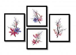 Quadros Flores Coloridas Suaves Salas Kit 4 Quadros.