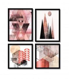 Quadros Decorativos Geométricos Coloridos Salas Com Moldura em preto