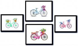 Quadros Decorativos Bicicletas Quartos Salas Kit 4 Quadros.