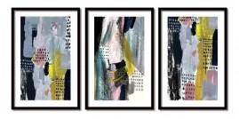 Quadros Decorativos Abstrato Aquarela Modernos Moldura 60x40