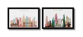Quadros Cidades Londres Nova York Decorativos Sala 1,20x40